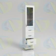 Шкаф для документов ЛДСП одностворчатый с 4 ящиками и стеклянной дверцей ШД1 на опорах 1900х400х400 мм.