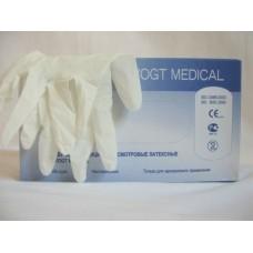 Перчатки медицинские смотровые латексные, без пудры гладкие, синие (VM)